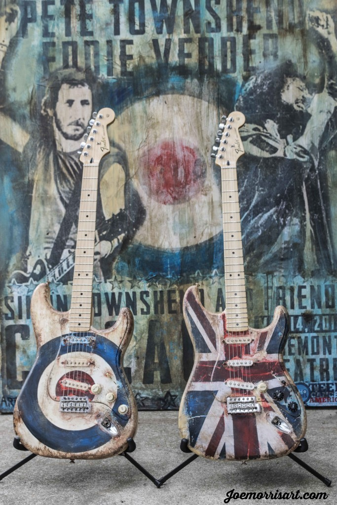 Painted two guitars for the The Who benefit concert for Teen Cancer America. Union Jack auctioned off for $25,000